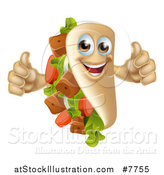Vector Illustration of a Happy Souvlaki Kebab Sandwich Mascot Giving Two Thumbs up by AtStockIllustration