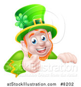 Vector Illustration of a Happy St Patricks Day Leprechaun Giving a Thumb up over a Sign by AtStockIllustration