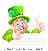 Vector Illustration of a Happy St Patricks Day Leprechaun Giving Two Thumbs up over a Sign by AtStockIllustration