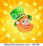 Vector Illustration of a Happy St Patricks Day Leprechaun over a Star Burst by AtStockIllustration