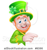Vector Illustration of a Happy St Patricks Day Leprechaun Pointing Around a Sign by AtStockIllustration