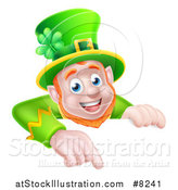 Vector Illustration of a Happy St Patricks Day Leprechaun Pointing down over a Sign by AtStockIllustration