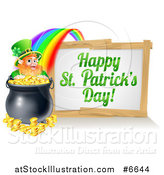 Vector Illustration of a Happy St Patricks Day Sign with a Rainbow Leading to a Leprechaun at a Pot of Gold by AtStockIllustration