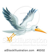 Vector Illustration of a Happy Stork Bird Flying to the Right by AtStockIllustration
