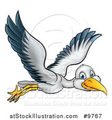 Vector Illustration of a Happy Stork Bird in Flight by AtStockIllustration