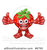 Vector Illustration of a Happy Strawberry Mascot Giving Two Thumbs up by AtStockIllustration