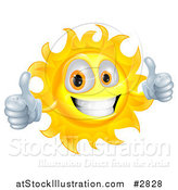 Vector Illustration of a Happy Sun Character Smiling and Holding Two Thumbs up by AtStockIllustration