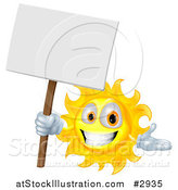 Vector Illustration of a Happy Sun Holding a Sign by AtStockIllustration