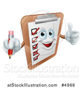 Vector Illustration of a Happy Survey Clipboard Holding a Pencil and Thumb up by AtStockIllustration