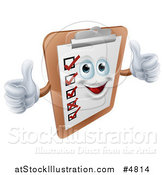 Vector Illustration of a Happy Survey Clipboard Holding Two Thumbs up by AtStockIllustration