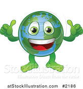Vector Illustration of a Happy Thumbs up Globe by AtStockIllustration