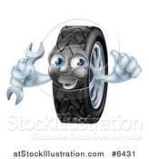 Vector Illustration of a Happy Tire Character Holding a Thumbs up and a Wrench by AtStockIllustration