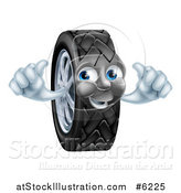 Vector Illustration of a Happy Tire Character Holding Two Thumbs up by AtStockIllustration