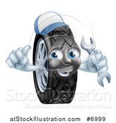 Vector Illustration of a Happy Tire Character Wearing a Baseball Cap, Giving a Thumb up and Holding a Wrench by AtStockIllustration
