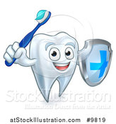 Vector Illustration of a Happy Tooth Character Holding a Toothbrush and Shield by AtStockIllustration