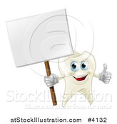 Vector Illustration of a Happy Tooth Mascot Holding a Thumb up and a Sign by AtStockIllustration