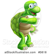 Vector Illustration of a Happy Tortoise Standing and Pointing by AtStockIllustration