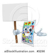 Vector Illustration of a Happy Touch Screen Cell Phone Holding a Sign by AtStockIllustration