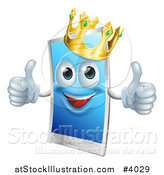 Vector Illustration of a Happy Touch Screen Cell Phone Mascot Wearing a Crown and Holding Two Thumbs up by AtStockIllustration