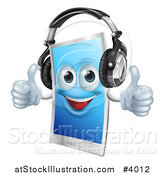 Vector Illustration of a Happy Touch Screen Cell Phone Mascot Wearing Headphones and Holding Two Thumbs up by AtStockIllustration