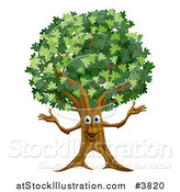 Vector Illustration of a Happy Tree Mascot by AtStockIllustration