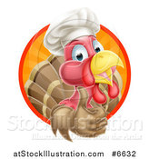 Vector Illustration of a Happy Turkey Bird Chef Holding up a Thumb from Inside a Circle by AtStockIllustration