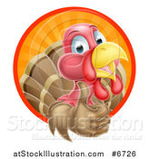 Vector Illustration of a Happy Turkey Bird Giving a Thumb up and Emerging from a Circle of Sun Rays by AtStockIllustration