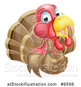 Vector Illustration of a Happy Turkey Bird Holding up a Thumb by AtStockIllustration