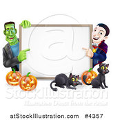 Vector Illustration of a Happy Vampire Frankenstein Pumpkins and Black Cats Around a Blank Sign by AtStockIllustration