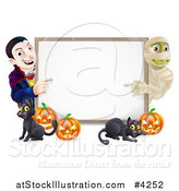 Vector Illustration of a Happy Vampire Mummy Pumpkins and Black Cat Around a Blank Sign by AtStockIllustration