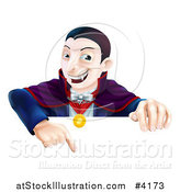 Vector Illustration of a Happy Vampire Pointing down at a Sign by AtStockIllustration