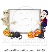 Vector Illustration of a Happy Vampire Skeleton Pumpkins and Black Cat Around a Blank Sign by AtStockIllustration
