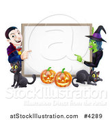 Vector Illustration of a Happy Vampire Witch Pumpkins and Black Cats Around a Blank Sign by AtStockIllustration