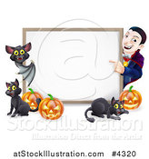 Vector Illustration of a Happy Vampire with a Bat Cats and Halloween Pumpkins Around a White Sign by AtStockIllustration