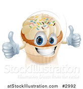 Vector Illustration of a Happy Vanilla Cupcake Character Holding Two Thumbs up by AtStockIllustration