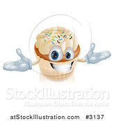 Vector Illustration of a Happy Vanilla Cupcake Character with Sprinkles by AtStockIllustration