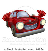 Vector Illustration of a Happy Vintage Red Car Giving Two Thumbs up by AtStockIllustration