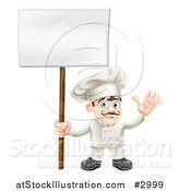 Vector Illustration of a Happy Waving Chef Holding a Sign on a Post by AtStockIllustration