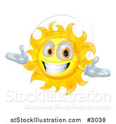 Vector Illustration of a Happy Welcoming Sun Character Smiling by AtStockIllustration