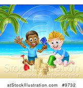 Vector Illustration of a Happy White and Black Boys Playing and Making Sand Castles on a Tropical Beach by AtStockIllustration