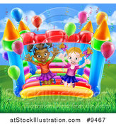 Vector Illustration of a Happy White and Black Girls Jumping on a Bouncy House Castle in a Park by AtStockIllustration