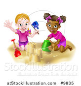 Vector Illustration of a Happy White and Black Girls Playing and Making Sand Castles on a Beach by AtStockIllustration