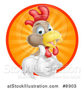 Vector Illustration of a Happy White and Brown Chicken or Rooster Giving a Thumb up and Emerging from a Circle of Sun Rays by AtStockIllustration