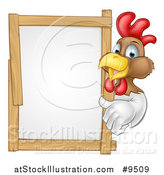 Vector Illustration of a Happy White and Brown Chicken or Rooster Giving a Thumb up Around a Sign by AtStockIllustration