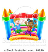 Vector Illustration of a Happy White Boy and Black Girl Jumping on a Bouncy House Castle by AtStockIllustration