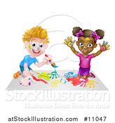 Vector Illustration of a Happy White Boy and Black Girl Painting by AtStockIllustration