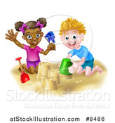 Vector Illustration of a Happy White Boy and Black Girl Playing and Making Sand Castles on a Beach by AtStockIllustration