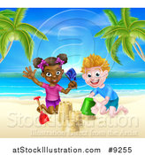 Vector Illustration of a Happy White Boy and Black Girl Playing and Making Sand Castles on a Tropical Beach by AtStockIllustration