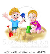 Vector Illustration of a Happy White Boy and Girl Playing and Making Sand Castles on a Beach by AtStockIllustration