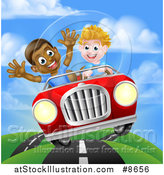 Vector Illustration of a Happy White Boy Driving a Black Boy and Catching Air in a Convertible Car by AtStockIllustration